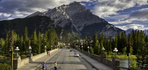 Banff Avenue in Banff National Park, Alberta, Canada.