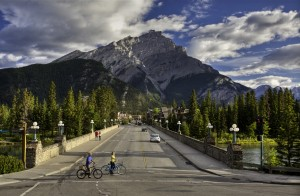 Banff Avenue in Banff National Park, Alberta, Canada.
